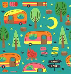 Seamless pattern with camping trailer vector