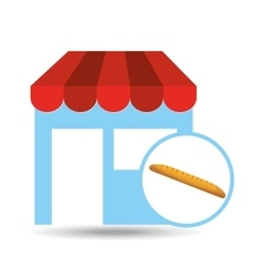 selling fresh baguette vector image