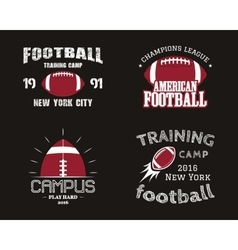 set american football team campus badges logos vector image