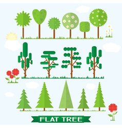 Set flat tree flower spruce vector