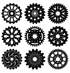 set gear wheels or cogs vector image