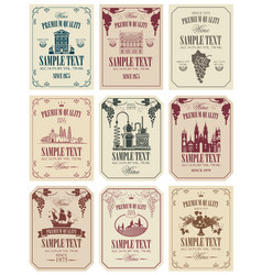 Set of labels for wine in retro style vector