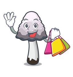 Shopping shaggy mane mushroom character cartoon vector
