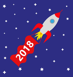 space rocket with red banner 2018 vector image