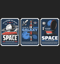 Spaceships for galaxy exploration banners vector