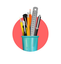 stationery realistic composition vector image