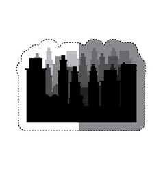 sticker frame silhouette cityscape scene night vector image
