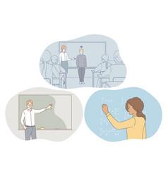 studying in school pupil teacher concept vector image