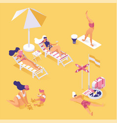 summer vacation on seashore isometric vector image