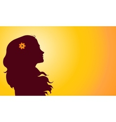 Sunset silhouette woman vector