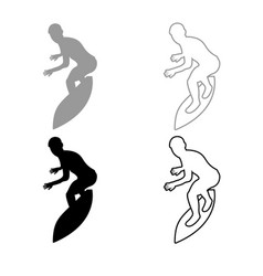 surfer on surferboard icon outline set grey black vector image