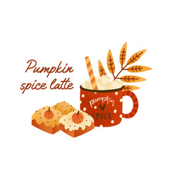 tasty pumpkin spice latte in cute red cup with vector image