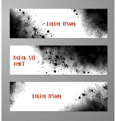 Three banners with abstract black ink wash vector