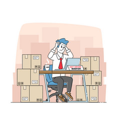 Tired inventory manager male character sit in vector