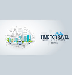 travel to dubai uae time to travel banner with vector image