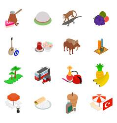 Turkey icons set isometric style vector