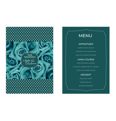Turquoise flower wedding invitation template vector