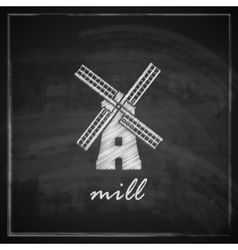 vintage with a mill on blackboard background vector image