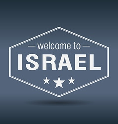 Welcome to Israel hexagonal white vintage label vector