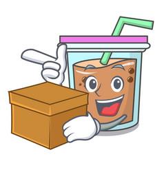 With box bubble tea character cartoon vector