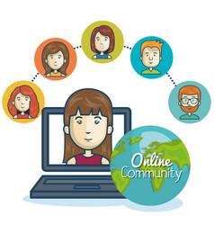 Woman community online smartphone design vector