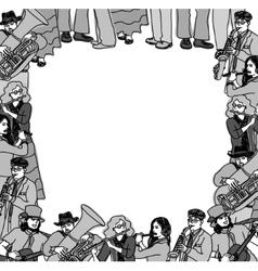 Frame border card musicians band monochrome vector image vector image
