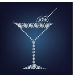 martini glass icon made a lot of diamonds vector image