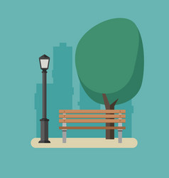 park with bench and streetlight vector image