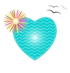 The heart of the sea waves and tropical flower vector image