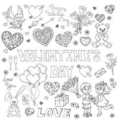 Valentines day doodles set vector image vector image