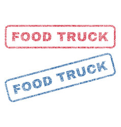 Food truck textile stamps vector