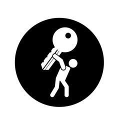 person lifting key door isolated icon vector image