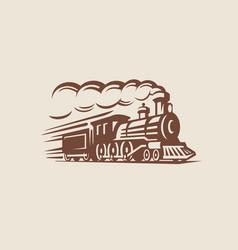 retro train vintage emblem vector image vector image
