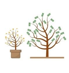 Tree with money Coins and dollars Evolution vector image vector image