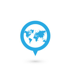 blue map pointer with world map silhouette icon vector image