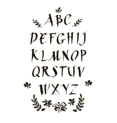 Handwritten ink calligraphic font Modern brush vector image