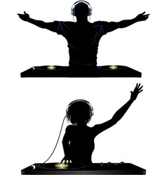 Male and female DJ and record decks vector image vector image
