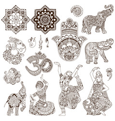 set of elements in the mehendi style vector image