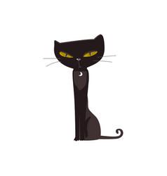 spooky elegant black cat with big yellow eyes vector image