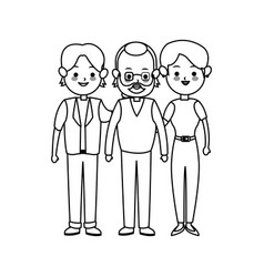 Three family members cute cartoon icon image vector