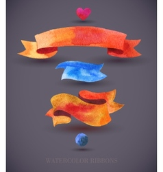 Watercolors ribbons and banners Collection of vector image vector image