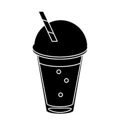 frappe coffee straw take out container pictogram vector image vector image