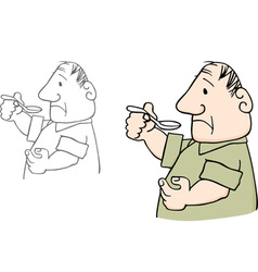 Man with spoon vector image vector image