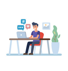 young man with laptop vector image