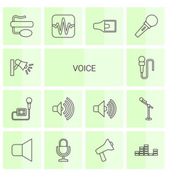14 voice icons vector image