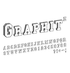 3d font template letters and numbers isometric vector image