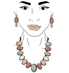 A girl in jewels silver necklace and earrings vector