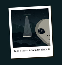 alien selfie on earth vector image