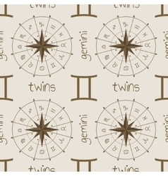 Astrology sign Twins Seamless pattern vector image