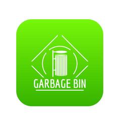 bin icon green vector image
